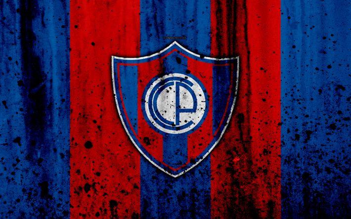 Download wallpapers 4k, FC Cerro Porteno, grunge, Paraguayan Primera Division, soccer, football club, Paraguay, Cerro Porteno, art, logo, stone texture, Cerro Porteno FC