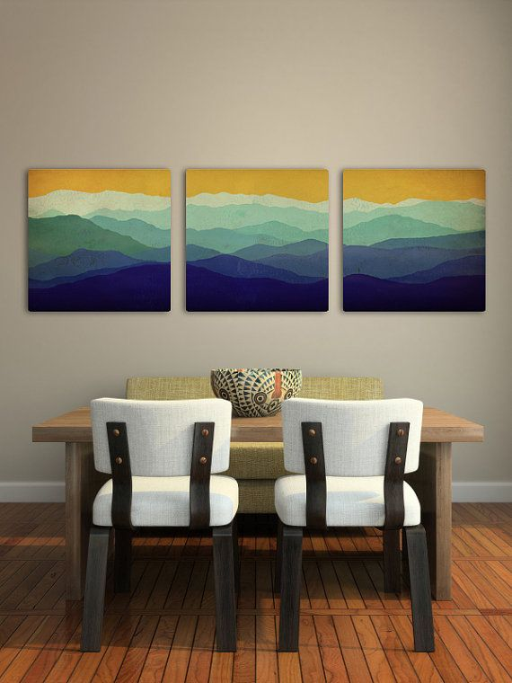 Mountain Memories Illustration TRIPTYCH  - Smoky / Green - Mountains  Stretched Canvas (3) 16x16x1.5  Ready to Hang Wall Art