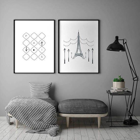 Set of 2 Paris Bedroom Decor Digital Print Paris Print