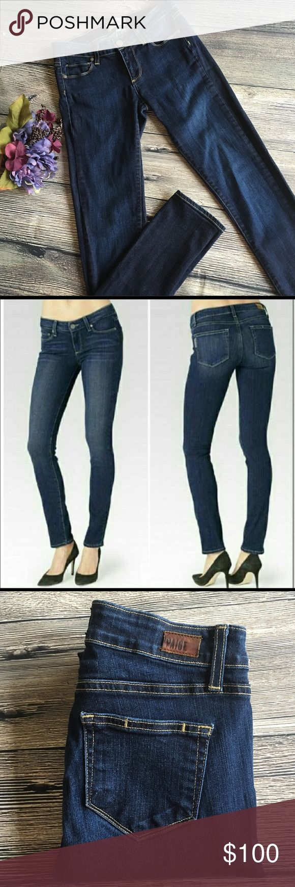 """Like New Paige Skyline Skinny (Maggie wash) With a sleek slim leg, these skyline skinny jeans are premium denim with flattering fit. Perfect to pair with flats, heels or boots, with a 28"""" inseam, like new condition. Dark Maggie wash. Size 25. Made in the USA. (D4) Paige Jeans Jeans Skinny"""
