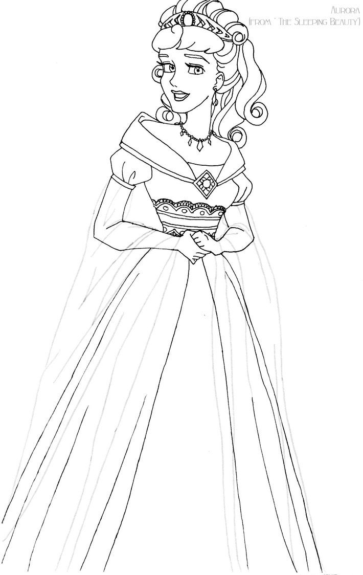 Aurora deluxe gown lineart by LadyAmber