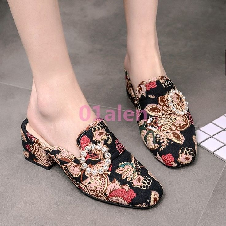 Womens Suede Floral Slippers Shoes Mid Block Heel Square Toe Mulesrural Wind