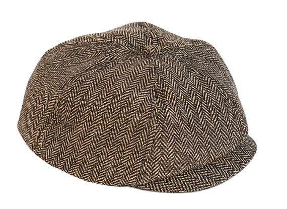 Brown Herringbone Newsboy Cap, Newborn cap,Baby Cap, Jeff Cap,Birthday Outfit , Boy Hat, Baby Photo Prop, Vintage Hats, Ring Bearer Hat
