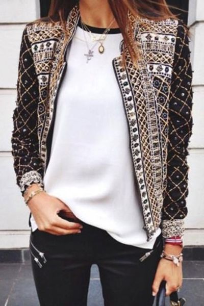 Embellished, embroidered tailored jacket with just the right amount of colour, perfect with a simple white t-shirt and jeans