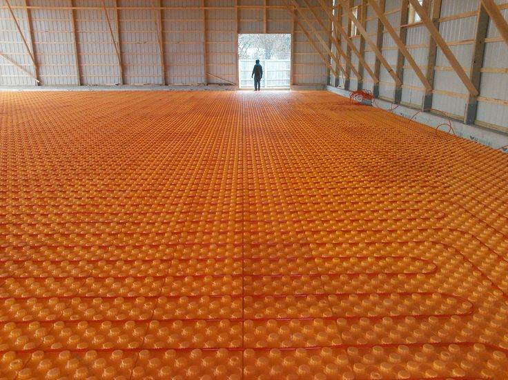 Pole barn with Creatherm floor insulation. Hydronic heat. Warm floors.