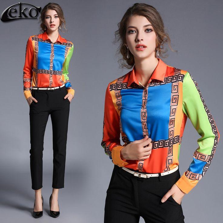 Fashion Blouses Spring 2017 Chiffon Shirt Women Blouse Hit Color Lapel OL Ladies Chiffon Blouse Formal Printed Shirt Female Tops #Affiliate