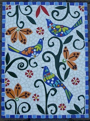 """Talavera Trio-12""""x16"""" wood substrate with mosaic of glass fusings, stained glass"""