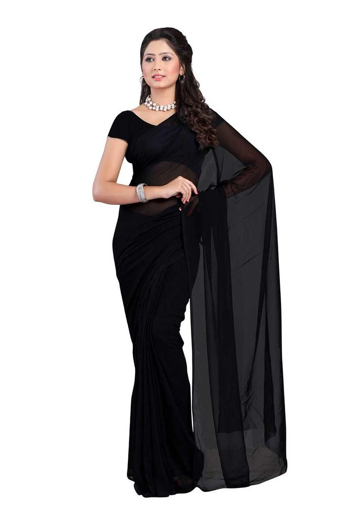 Fabdeal Black Colored 60 Gram Georgette Plain Saree