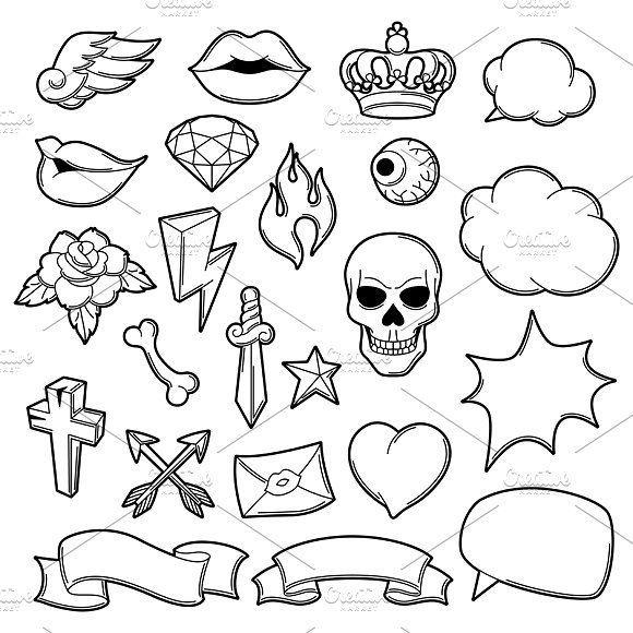Set of retro tattoo symbols. by incomible on Creative Market –  – #smalltattoos