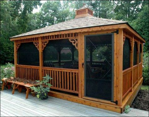 16 x 16 Cedar Rectangular Gazebo with Rustic Cedar Asphalt Shingles, Cupola, Decorative Braces and Optional 4 Track Windows, Cedar Stain and Offset Door