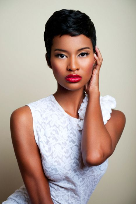 Great short cut....great makeup, pretty lady.