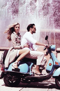 her hair, that trench and that man. what a lovely way to spend an afternoon #ridecolorfully #vespa