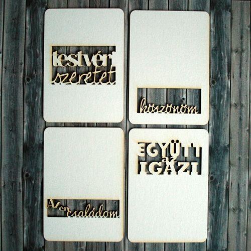 NőiCsizma | Család témájú feliratos chipboard kártyák