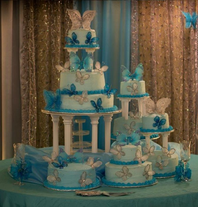 Cake Decorating Ideas For Quinceanera : Beautiful Turquoise Butterfly Cake Quinceanera Ideas ...