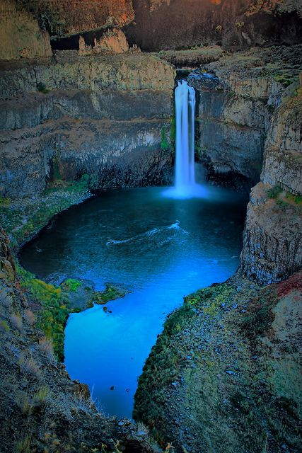 Palouse Waterfall State Park Twilight, Washington State by Don Briggs