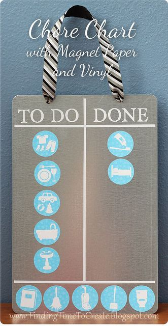 Chore chart with vinyl and printable magnet paper. #silhouettedesignteam