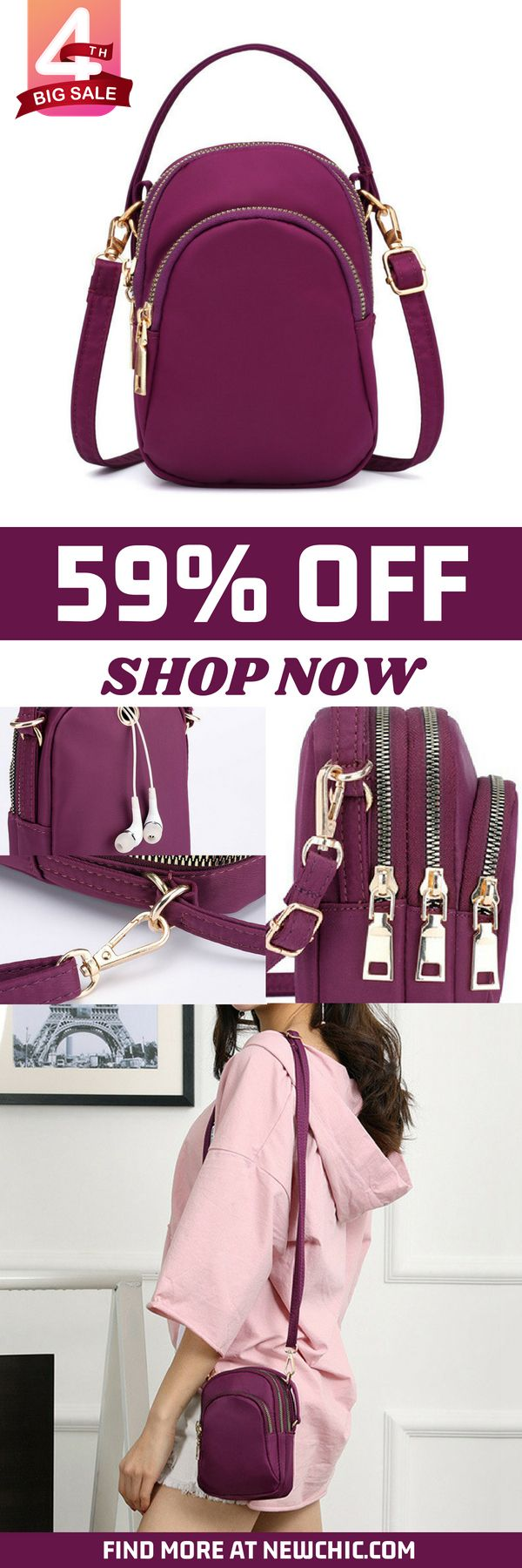 【US$13.59】Women Nylon Waterproof Multi- Slot Solid Crossbody Bag Mini Portable Phone Bag#nylon#waterproof#multi-slot#crossbody#fashion#mini #phonebag