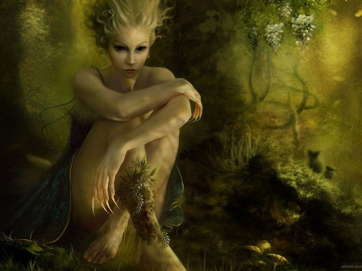 """In Finnish folklore, Ajatar is a spirit known as """"Devil of the Woods"""". It is an evil female spirit that manifests as a snake or dragon. Ajatar is said to be the mother of the devil. She spreads disease and pestilence, any that look at her become ill, and she suckles serpents. She is in some ways similar to Babylonian Tiamat, dragon mother of the gods and goddesses. The word """"ajatar"""" is possibly derived from the verb ajaa, """"chase""""."""