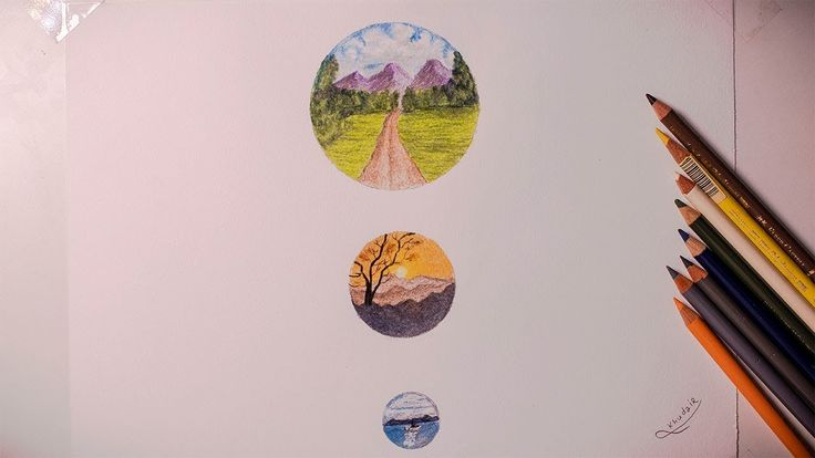 Drawing Nature How To Paint A Landscape In A Circular Color Wood Drawings Painting Landscape