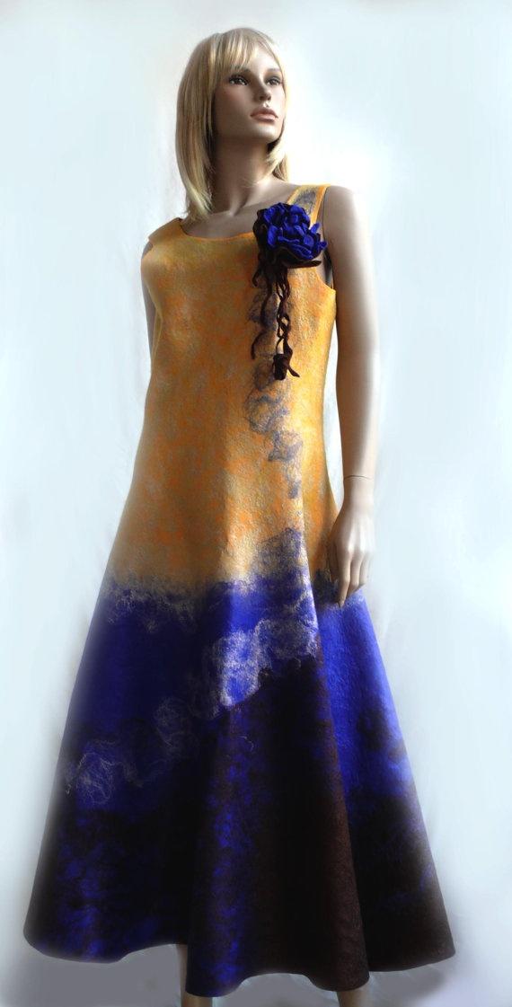 Dress Sunset OAK hand felted by FELTinFASHION on Etsy