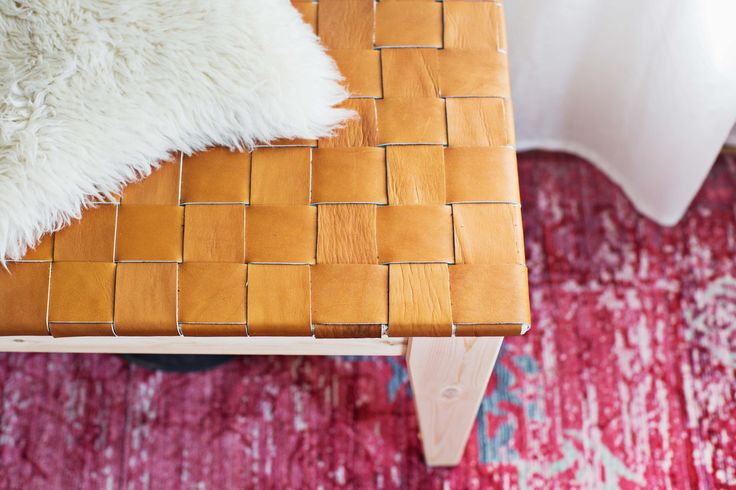 A Beautiful Mess - DIY woven leather bench top with Ikea bench.