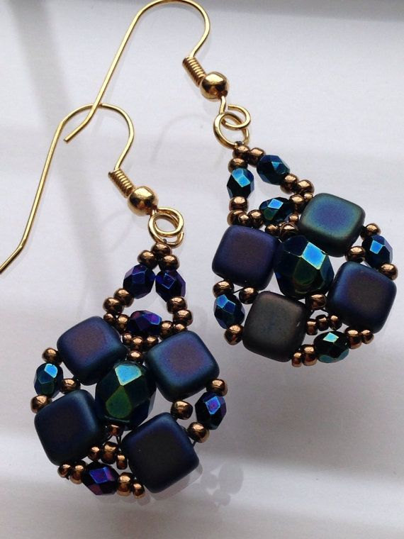 Blue Czechmate and firepolish earrings by BeadALittleDream on Etsy