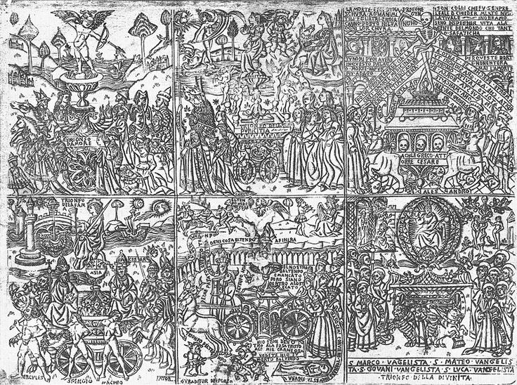 File:Florence-petrarch-trionfi.jpg The Trionfi of Petrarch, with all six allegorical triumphs in a single print. Various elements are characteristic of early Florentine illustrations of Petrarch. Date	Late 1400s. Source	Scanned from Von Bartsch: The Illustrated Bartsch, v.24.