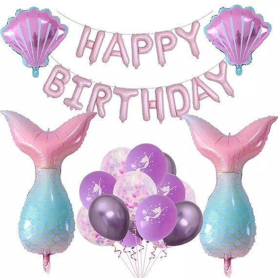 Purple Shell Balloons or Pink Shell Balloons Shell Balloon Birthday Decor /& Party Balloon Supply