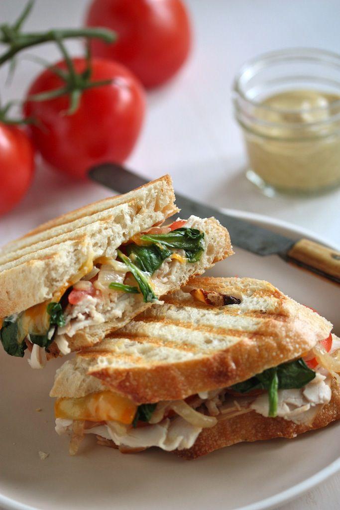 Cheesy Roast Turkey and Vegetable Panini