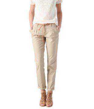 Pantalon+chino+en+toile+femme