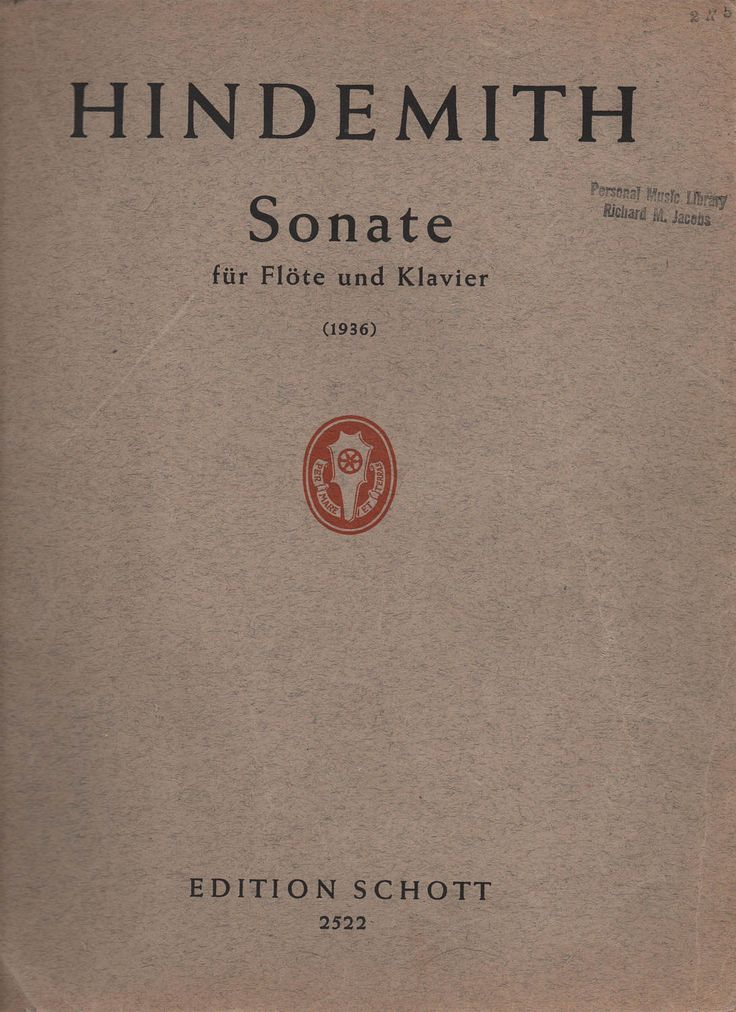 Paul Hindemith Sonate fur Flote und Klavier, 1936, Edition Schott 2522, 28 pages, in German, fair shape by VintageNEJunk on Etsy