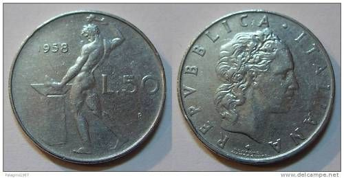 monete rare 50 lire del 1958