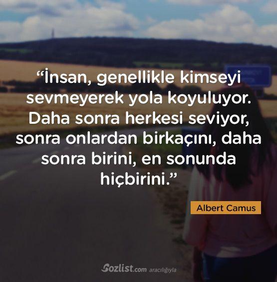✔İnsan, ümumiyyətlə kimsəni sevməyərək yola çıxır. Daha sonra hər kəsi sevir, sonra onlardan bir neçəsini, daha sonra birini, ən sonunda heç birini. #Albert_Camus