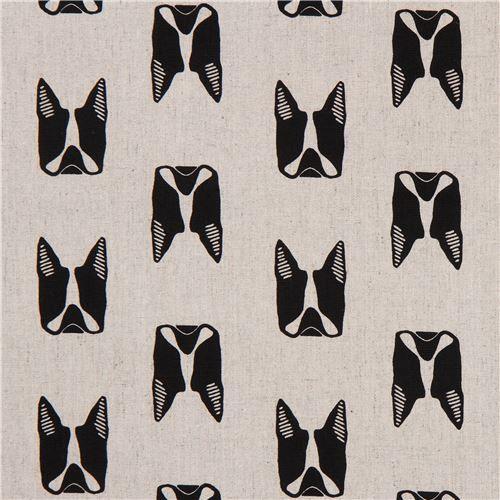Tessuto con animali - tessuto color neutro cani neri in tela Andover  - un prodotto unico di modes4u su DaWanda