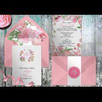 Нежно-розовые приглашения с акварельными пионами. Бумага, цвета и стиль по вашему желанию.
