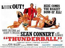 Thunderball (1965) is the fourth spy film in the James Bond series starring Sean Connery as the fictional MI6 agent James Bond. It is an adaptation of the novel of the same name by Ian Fleming, which in turn was based on an original screenplay by Jack Whittingham. It was directed by Terence Young with its screenplay by Richard Maibaum and John Hopkins.