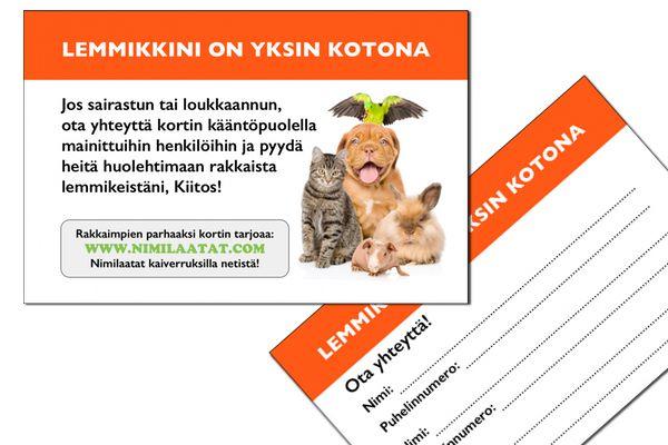 Lemmikinomistajan hätätietokortti / Tilaa kaupan päälle! / Lemmikin hätätietokortti / Koiran nimilaatta - Kissan nimilaatta | Nimilaatat.com verkkokauppa