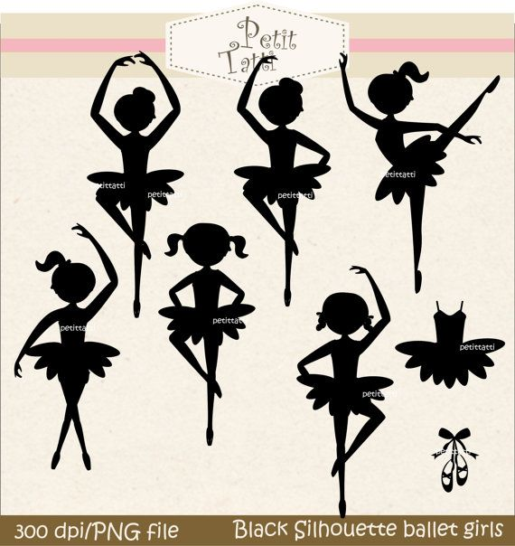 Digital clip art. for all use,Black Silhouette Ballet girls