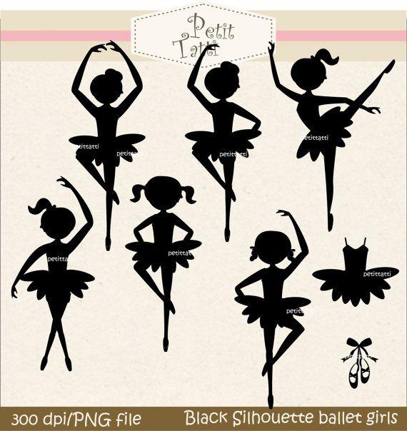 Digital clip art. for all use,Black Silhouette Ballet girls
