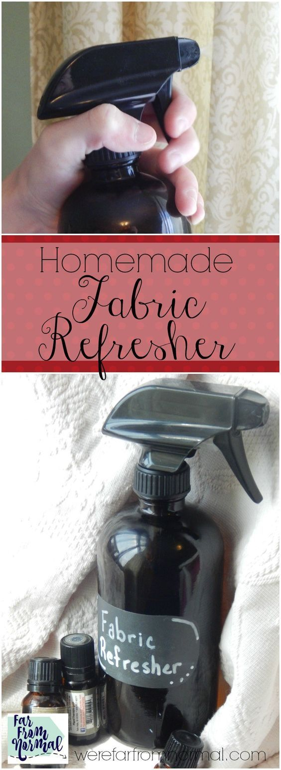 Ditch the chemical laden Febreeze and whip up a batch of this fabric refresher! Made with essential oils and natural ingredients it works great!