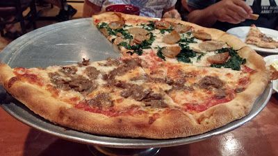 Sausage, spinach, and meatball pizza from Goodfella's in Orange City, FL!