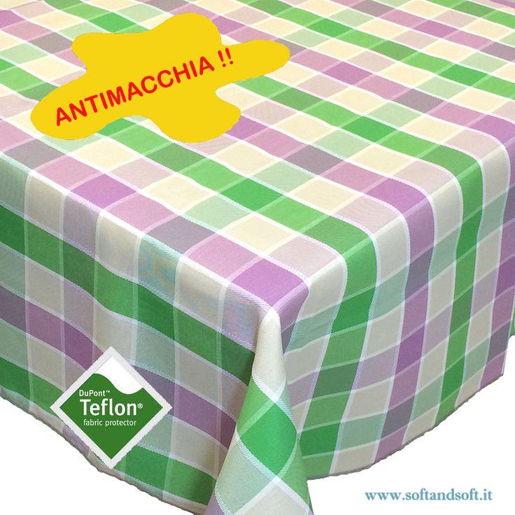 BORA+Tovaglia+da+12+cm+140x250+Antimacchia+quadro+lilla+verde+Teflonata