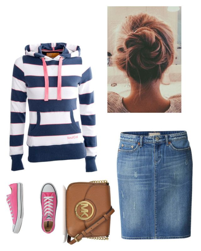 """Lazy cute"" by modestostherightway ❤ liked on Polyvore featuring moda, Soul Cal, Uniqlo, Converse y Michael Kors"