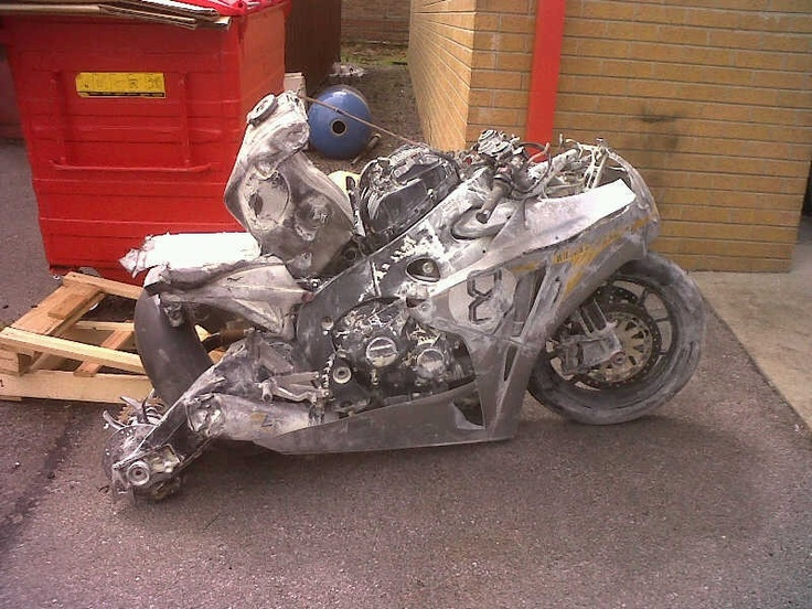 Not motogp, but an amazing rider - Guy Martin's CBR 1000 after his crash at the Senior TT 2010...