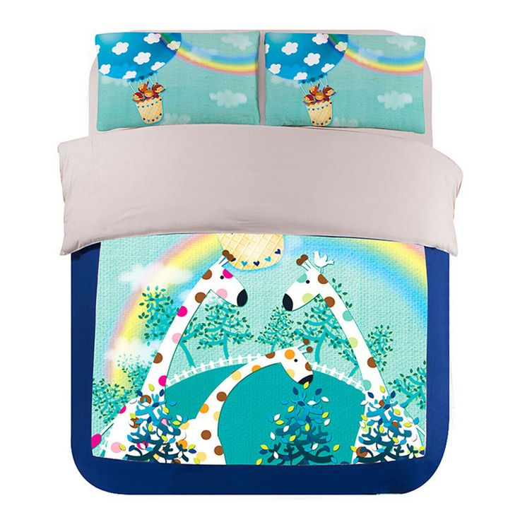 Blue and Pale Turquoise Cartoon Giraffe and Rainbow Bedding Sets Twin Queen King Size Bed Sheets Duvet Cover Set for Children
