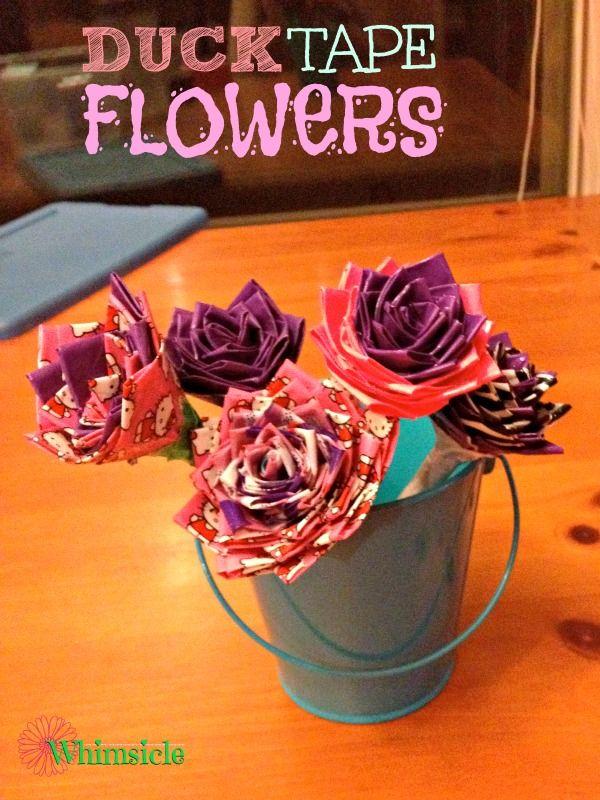 Duck Tape Flower Pens via @awhimsiclelife