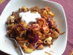 Kartoffel-Würstchen-Pfanne
