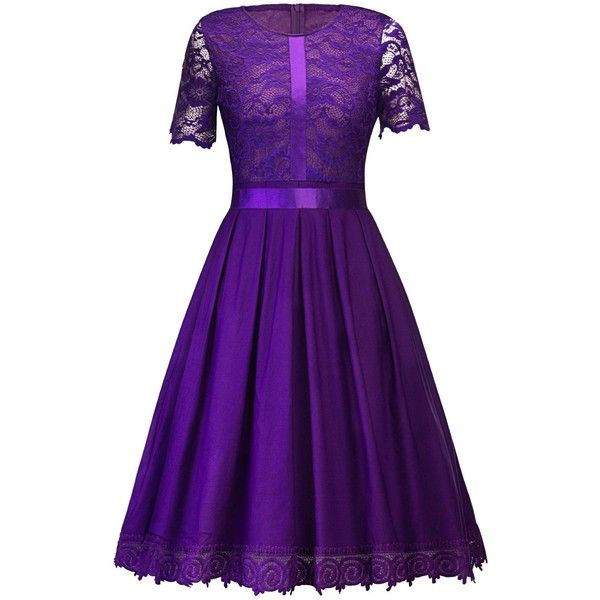 Purple 2xl Vintage Lace Party Skater Dress ($20) ❤ liked on Polyvore featuring dresses