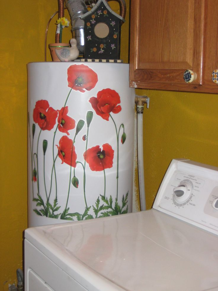 WATER HEATER COVER  Hide a water heater.  If you have a water heater that is unslightly, get a magnetic car sign and cover with decals of your choice.  I used poppies.