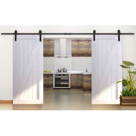 TMS 10FT Country Antique Interior Double Sliding Barn Door Track Hardware Kit Dark Coffee Steel Image 2 of 9